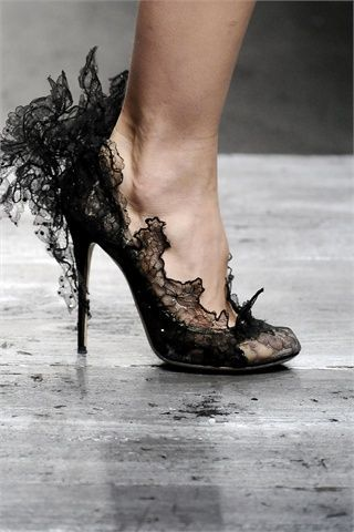Really awesome black lace heels!