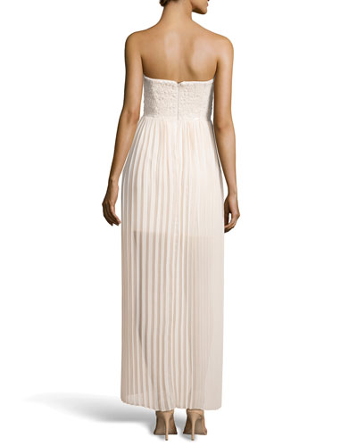 Aidan Mattox Strapless Sequin and Plisse Gown_back