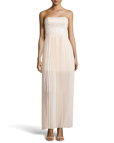 Aidan Mattox Strapless Sequin and Plisse Gown_front