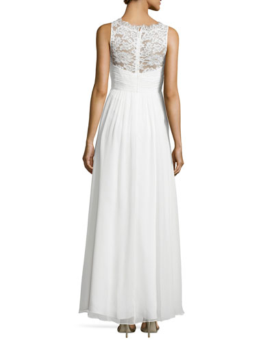 Sleeveless Lace Illusion-Neck Gown, Ivory_back