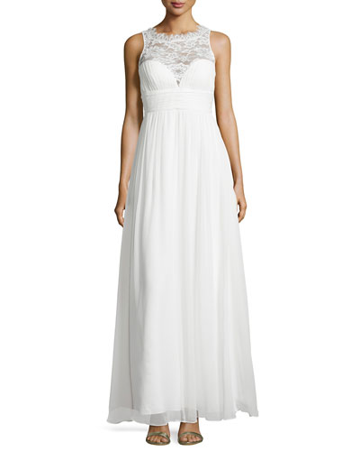 Sleeveless Lace Illusion-Neck Gown, Ivory_front