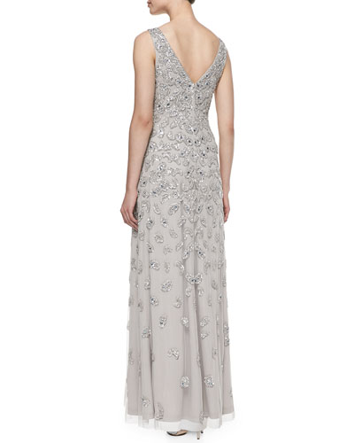 Sleeveless Patterned Sequined Gown_back