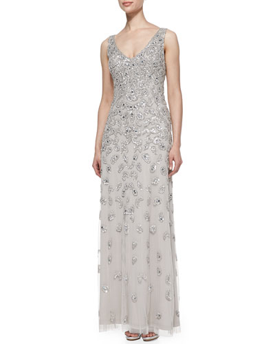 Sleeveless Patterned Sequined Gown_front